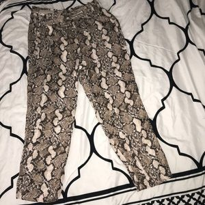 Snake print high waist belted pants